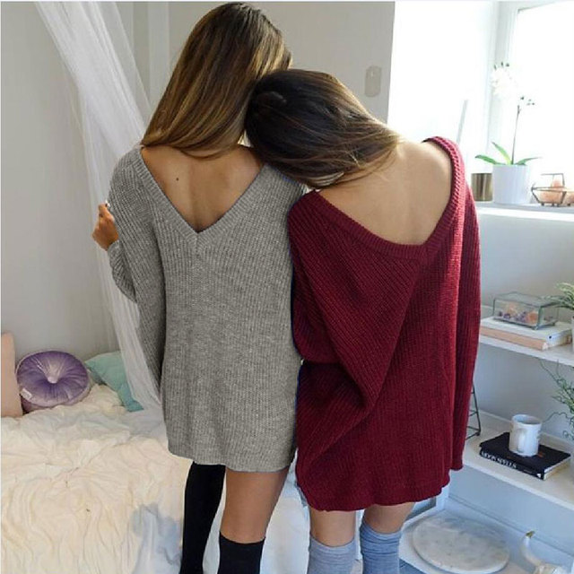 Sexy Knitted Winter Sweater Women Loose Pullover Jumper Long Sleeve Sweater Dress V Neck Women's Sweaters Oversized Sweater Tops
