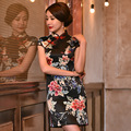 Chinese Traditional Women Handmade Dress Black Cheongsam Qipao Peony Flower Evening Party Dress S M L XL XXL