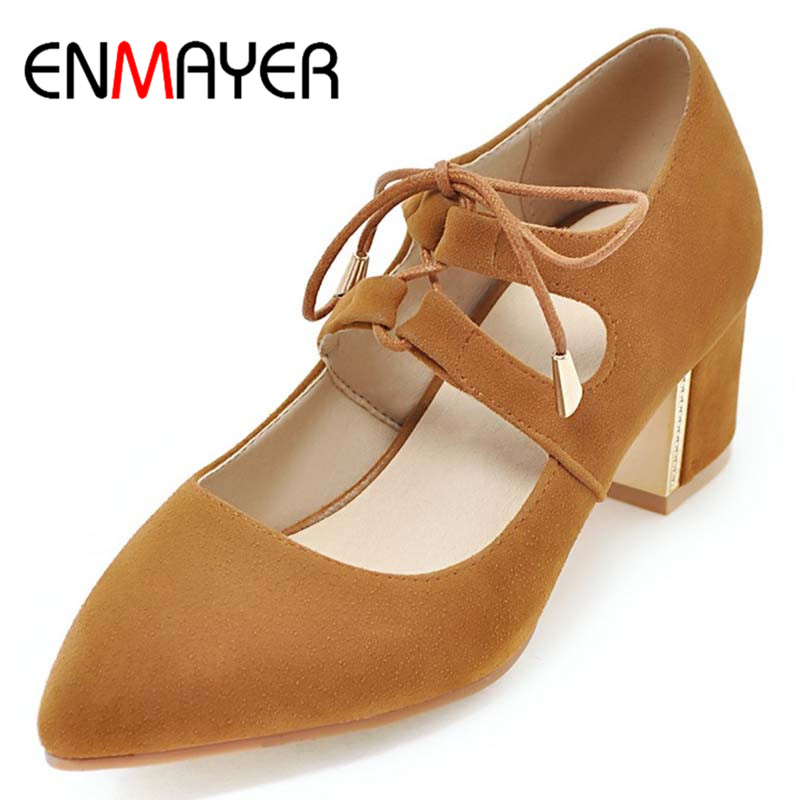 ФОТО ENMAYERW Spring Autumn Women Casual Pumps Shoes Pointed Toe Lace-Up Square Heel Large Size 34-47 Black Beige Yellow