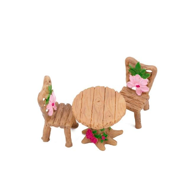 Home Micro Landscape Miniatures 3 Pcs/Set Cute Table Chair Resin Craft Ornament Fairy Garden Miniature Figurine Decoration 2
