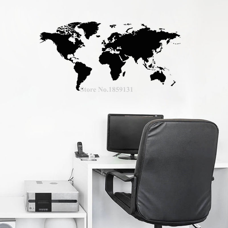Atlas world map wall sticker black printed bedroom decorative atlas world map wall sticker black printed bedroom decorative removable adhesive vinyl wall decal creative home decor in wall stickers from home garden gumiabroncs Image collections