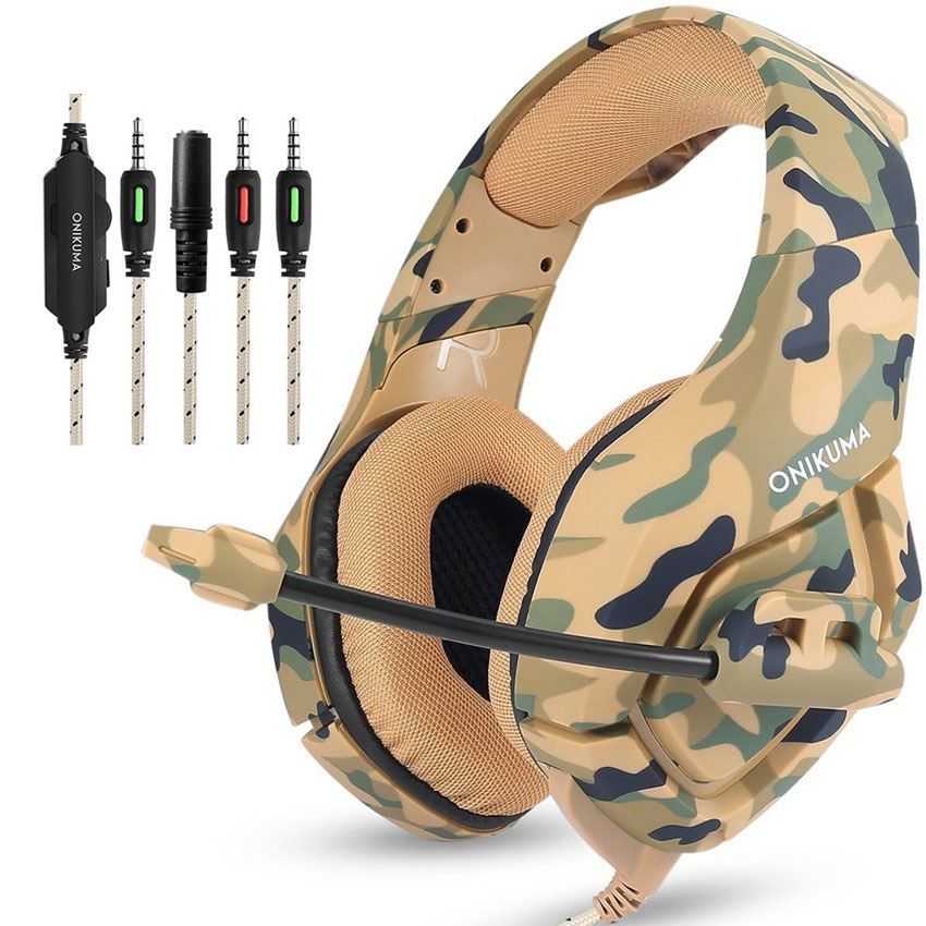 ONIKUMA K1 Camouflage Stereo Gaming Headset for PS4 PC Xbox One Noise Cancelling Over Ear Headphones with Mic LED Light