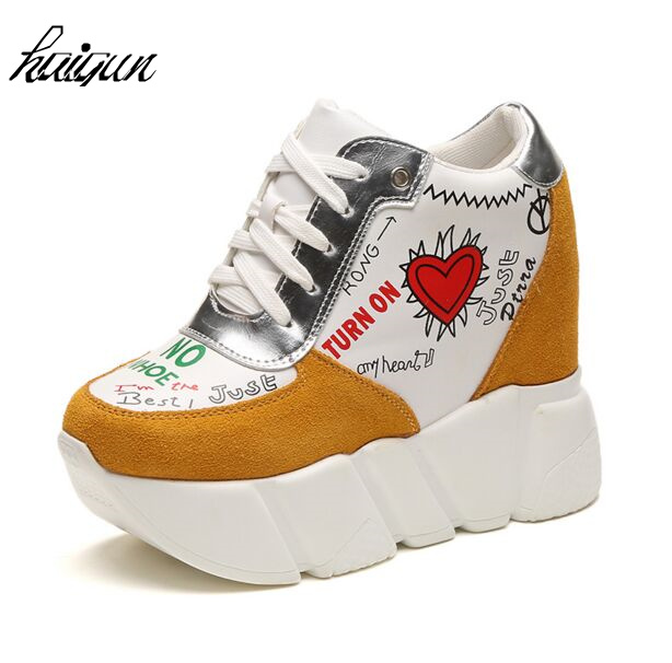 Wedge high heels zapatos mujer Platform Heels ladies Canvas font b Shoes b font chaussure femme