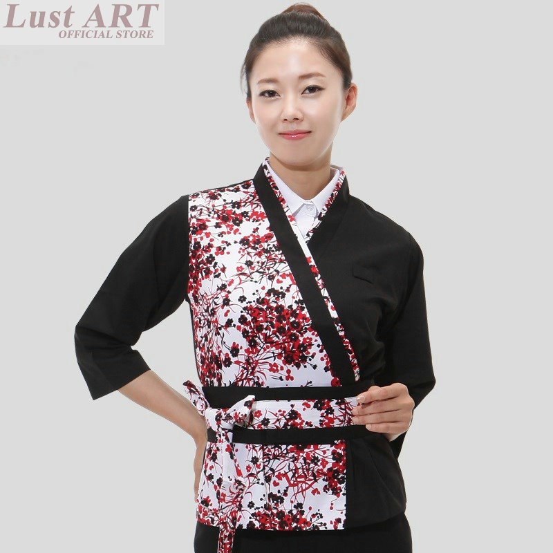 Food Service japanese restaurant uniforms restaurant waitress uniforms women ladies waitress uniform japanese chef jacket B044