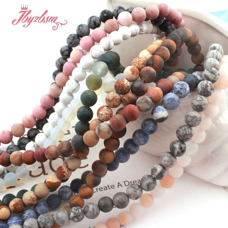"6mm Natural Hematite Sodalite Amazonite Frost Round Stone Beads For DIY Jewelry Making Christmas Necklace Bracelet Strand 15""(China)"