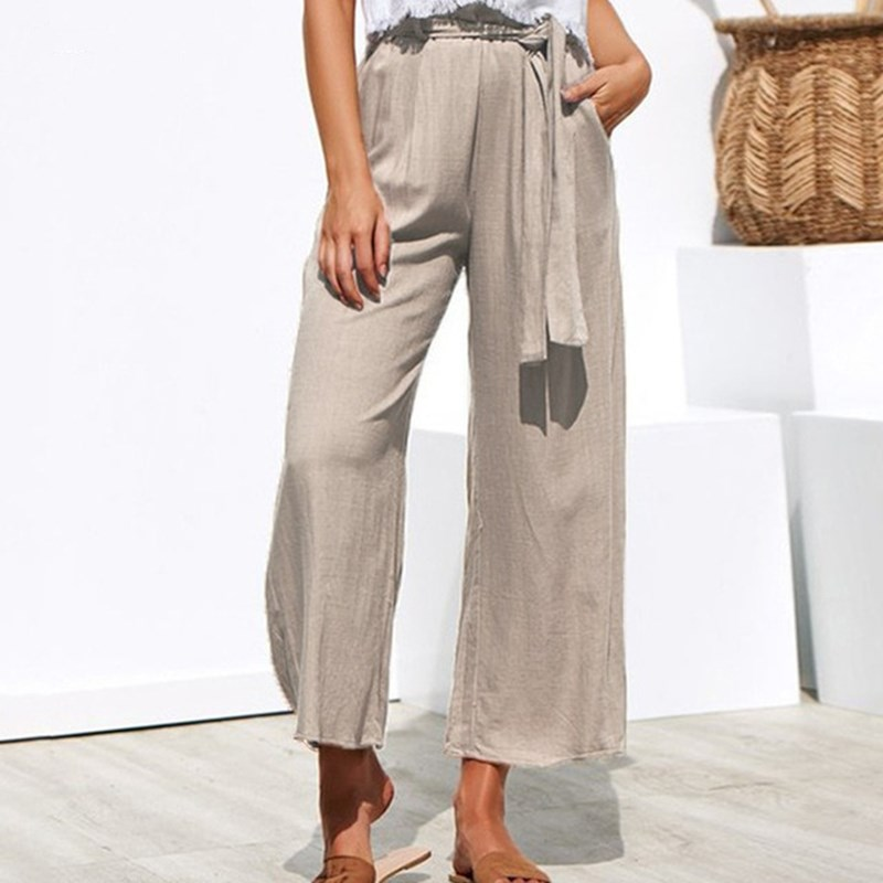 Women High Waist   Wide     Leg     Pants   Solid Pleated Casual   Pants   Lace Up Elastic Waist Trousers