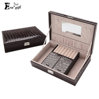 Crocodile Pattern Leather Storage Box Jewelry Organizer Necklace Rings Beads Storage Boxes With Lock Makeup Dresser