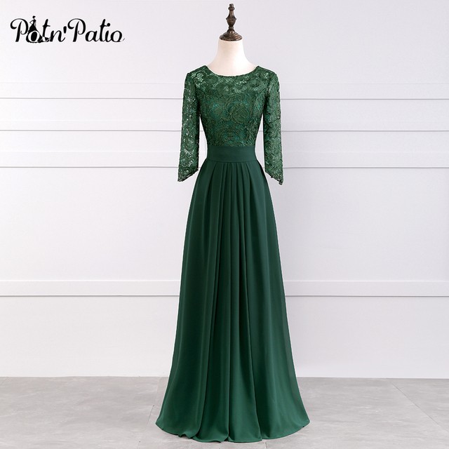 PotN'Patio 2017 New Arrival O-neck Floor-Length Long Chiffon Plus Size Mother Of The Bride Dresses With Lace Sleeves For Wedding
