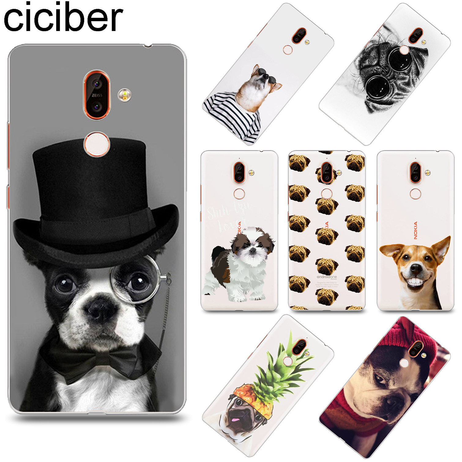 ciciber Cute Animal <font><b>Dog</b></font> For <font><b>Nokia</b></font> X6 X7 X5 X3 Soft TPU Phone <font><b>Cases</b></font> For <font><b>Nokia</b></font> 9 8 8.1 7 7.1 6 6.1 5 5.1 <font><b>3</b></font> <font><b>3</b></font>.1 2 2.1 1 Plus Coque image