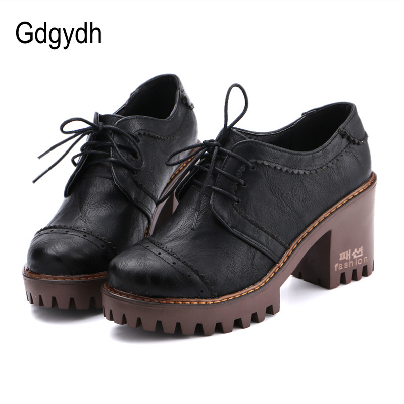 Gdgydh 2017 Spring British Style Women Single Shoes Round Toe Lacing Platform Female Pumps Soft Leather PU Casual Ladies Shoes