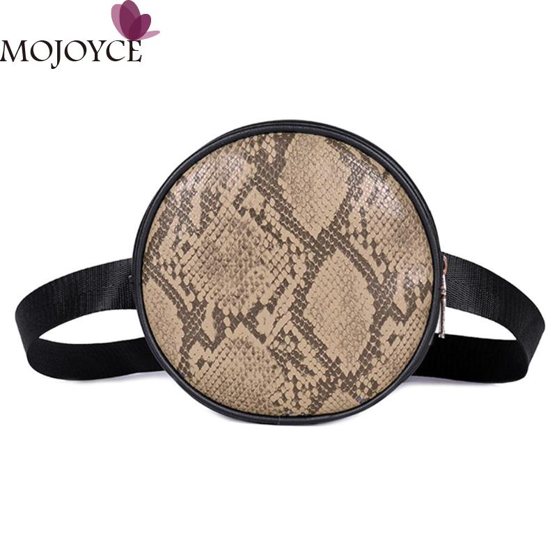 Female Fashion Casual Round Snake Print Shoulder Crossbody Bags Women Waist Fanny Packs PU Leather Round Chest Bags