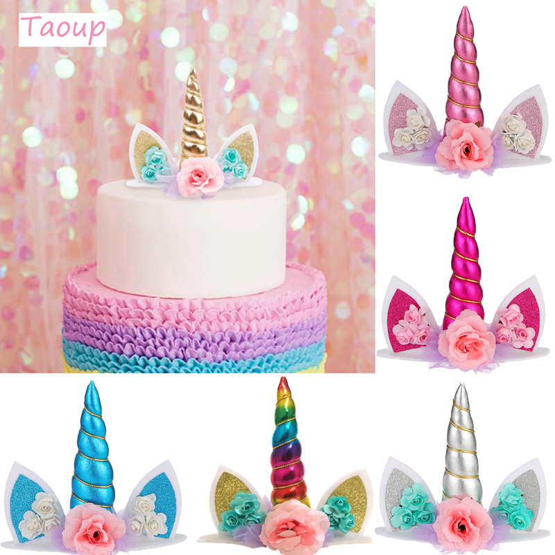 TAOUP Wedding Babyshower Unicorn Cake Topper Decor For Decorating Supplies Birthday Party