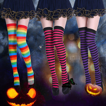 Vrouwen pure gestreepte dij hoge kousen plus grootte over de knie slanke sokken