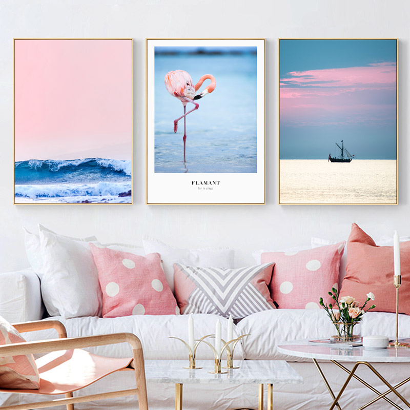 Nordic Pink Pineapple Blue Sea Posters And Prints Flamingo Wall Art Canvas Painting Wall Pictures For Living Room Art Unframed