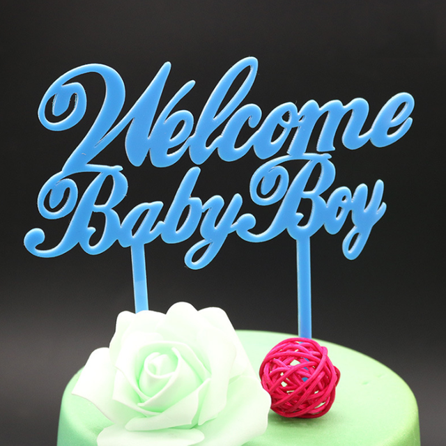 1 Pcs Novelty Welcome Baby Boy Birthday Cake Flags Blue Acrylic