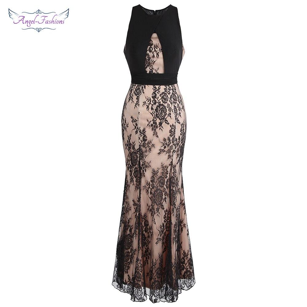 Angel-fashions Women's Vintage Lace Sleeveless Round Neck Pleated Long Mermaid abiye   Evening     Dress   Nude Black W-190210-S