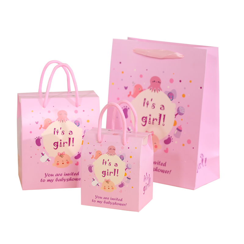 Cartoon Baby Birthday Party Favor Bags Sweet Gift Bag Shower Tote Duckling Bear Boy Girl Pattern Tail Shape Candy Box
