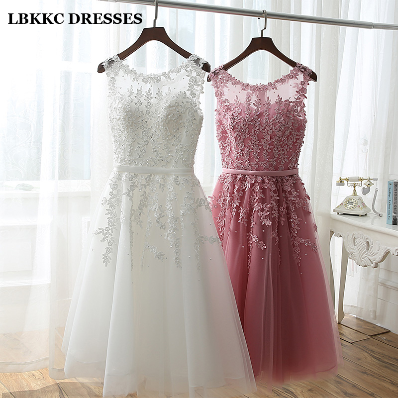 f3060bd6 Short Bridesmaid Dress Cheap Knee Length Lace With Tulle Pink White Robe  Demoiselle D'honneur