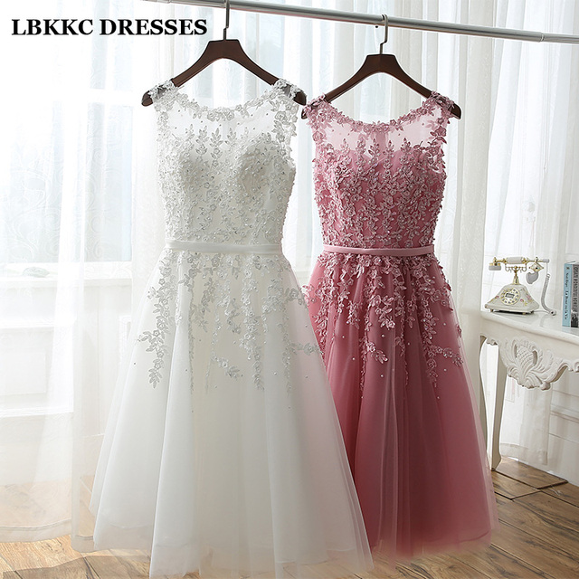 Short Bridesmaid Dress Cheap Knee Length Lace With Tulle Pink White Robe Demoiselle D'honneur Short Dresses For Wedding Party