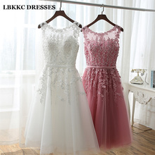 Short Bridesmaid Dress Cheap Knee Length Lace With Tulle Pink White Robe Demoiselle Dhonneur Dresses For Wedding Party