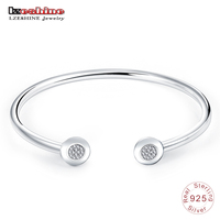 LZESHINE Authentic 925 Sterling Silver Opening Bracelet Bangle With Clear CZ Fashion Cuff Bangles Jewelry Pulseras