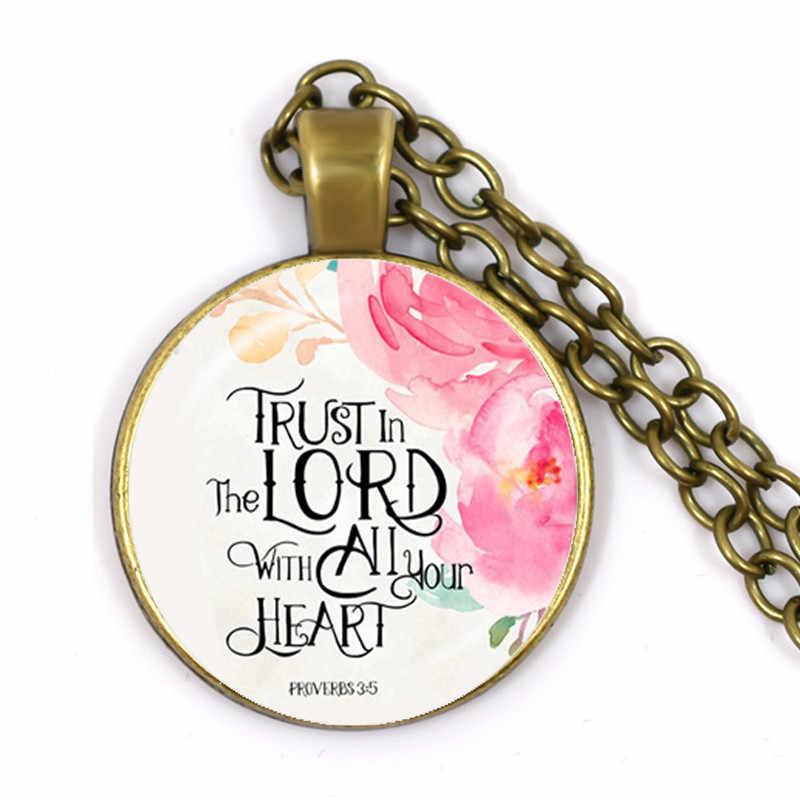 Joshua 1:9 bądź silny i odważny wersety biblijne przedszkole Verse naszyjnik moda biżuteria religia wisiorek Christian