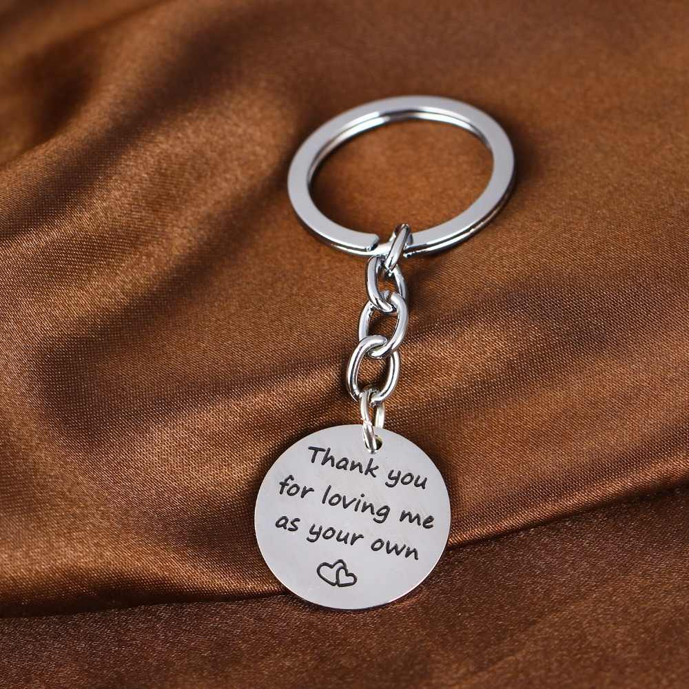 Thank You For Loving Me As Your Own Heart Stainless Steel Key Ring Family Jewelry Keychains Gift For Adoption Step Mom Dad