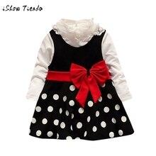 2Pcs Toddler Baby Girl Lace Shirt +Dot Bow Princess Kids Dress Clothes Sundress Set long sleeve evening dresses kids