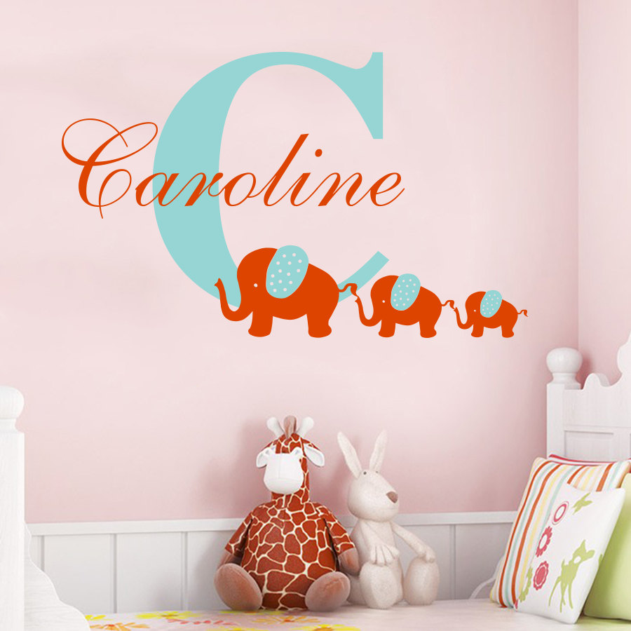 Customize Name Initial elephant wall sticker Personalized Baby Nursery Room Vinyl Sticker three elephant Home Decor Mural W 64 in Wall Stickers from Home Garden