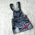 2015 summer new arrival children clothing denim strap jeans dresses National flag baby girls casual dresses child fashion short