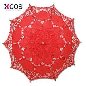 Image 3 - בציר סגול כחול אדום שחור לבן שנהב תחרה ידנית חתונה מטריית כלה שמשייה מטריית אביזרי חתונה זול