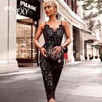 Gosexy 2018 عميق الخامس عارية الذراعين الرباط البسيطة المرأة ضمادة حزب اللباس أزياء السباغيتي حزام أسود bodycon النساء اللباس