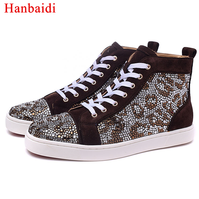 Hanbaidi Popular Man Shoes High Top Real Leather Mixed Color Rivets Lace Up Round Toe Flats Shoes Man Top Quality Casual Shoes 2016 new trend luxury brand high top man shoes flat fashion mixed color lace up spring autumn leather man casual shoes patchwork page 3