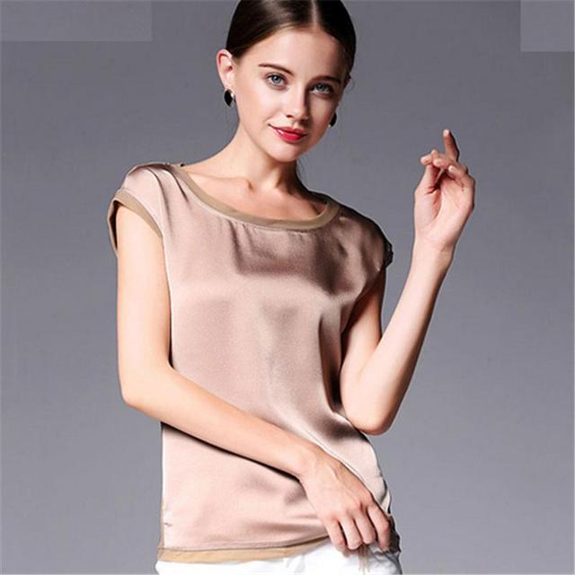 Summer women blouses 2017 new casual chiffon silk blouse slim sleeveless O-neck blusa feminina tops shirts solid 6 colors