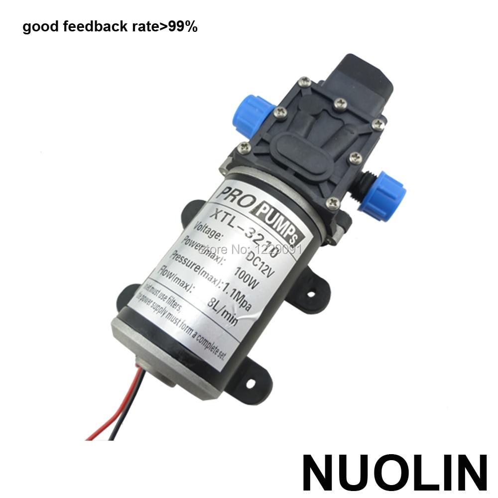 Купить с кэшбэком 100W 8LPM Automatic pressure switch high pressure diaphragm self priming mini electric Water Pump 12v 24v dc