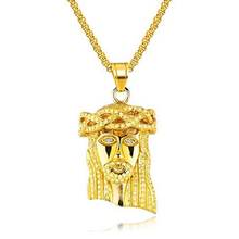 Mens Metal Stainless Steel Cathlic Christian Necklace Gold Jesus Piece Pendant Hip Hop Religious Jewelry Face of Christ