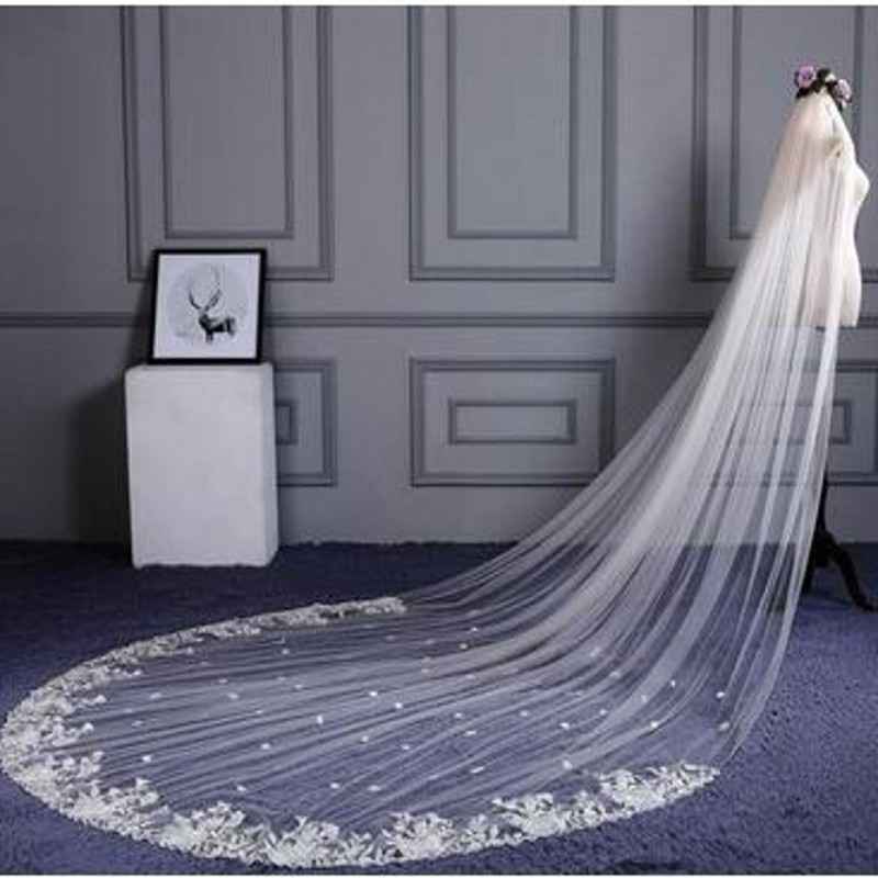 voile mariage Bridal Accessories Long Wedding Veils Appliques Edge With Comb veu de noiva Bridal Veil