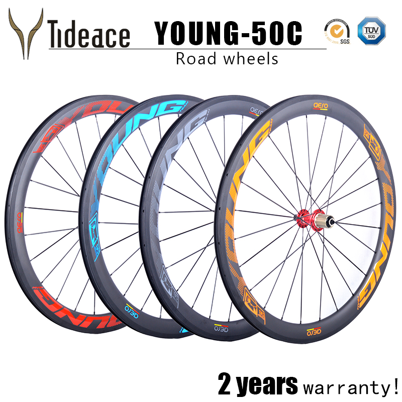 Young Carbon Road Wheelset 50mm Tubuless Or Clincher With Novatec 291 hubs Basalt Brake Carbon road bike wheels 27.25mm width far sports carbon wheels 50mm clincher 23mm wide with novatec hub and sapim spokes novatec carbon wheels fsc50cm 23 700c
