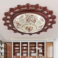 Chinese Style Wooden Round Ceramic Ceiling Light Living Room Bedroom Corridor Balcony Blue White Classica Ceiling