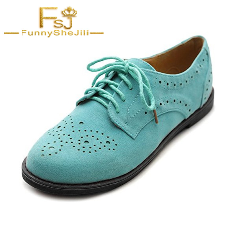 Turquoise Women's Oxfords Comfortable Lace up Vintage Flats Shallow Attractive Incomparable Noble Generous Sexy FSJ  Elegant