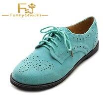 Zapatos Oxford de mujer turquesa cómodos con cordones planos Vintage poco profundos atractivos incomparables nobles generosos Sexy FSJ elegante