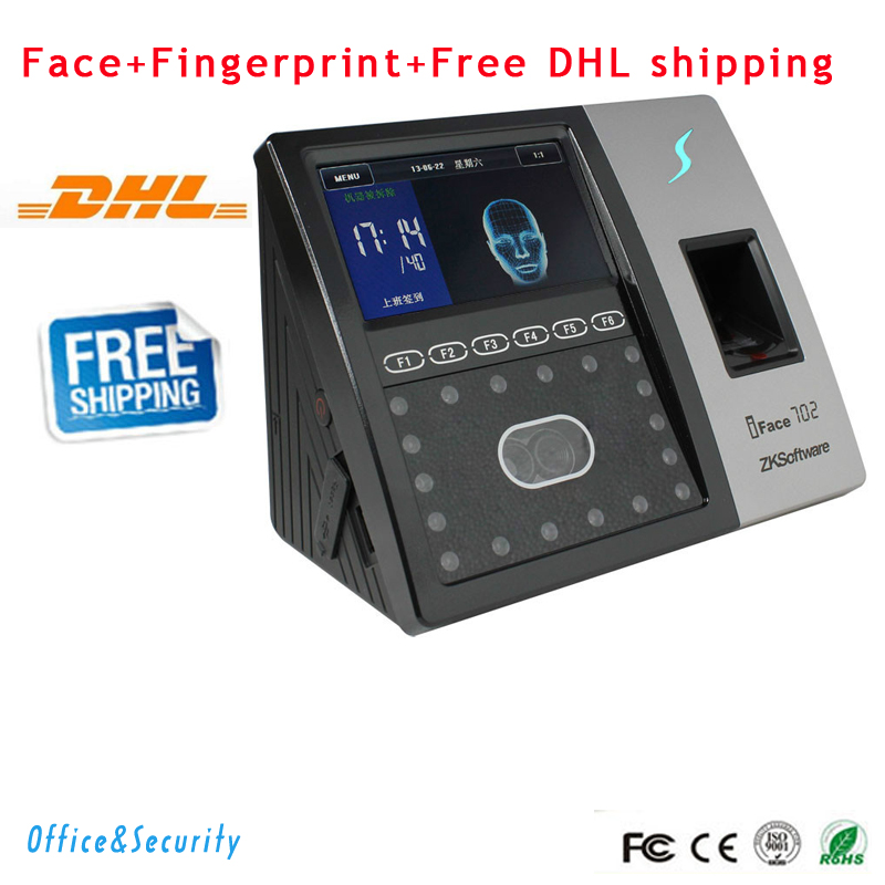 DHL Free Shipping TCP/IP RS232/485  facial recognition biometric fingerprint time attendance access control ZK software iFace702