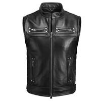 2019 Black Men American Biker's Leather Vest Plus Size XXXXL Genuine Cowhide Spring Slim Fit Motorcycle Vest FREE SHIPPING