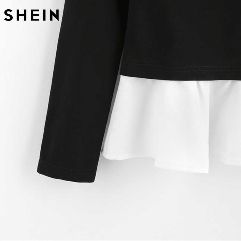 c87967ba80 ... SHEIN Pearl Beading Neck Contrast Trim Tops Black and White Color Block  Autumn Top Long Sleeve ...