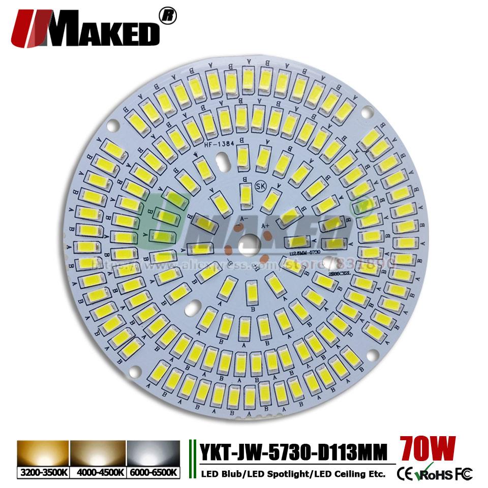 UMAKED 70 W 113mm LED PCB SMD5730 puce LED Source plaque de lampe en aluminium chaud/naturel/blanc bricolage plafonnier ampoule baie lumière spot