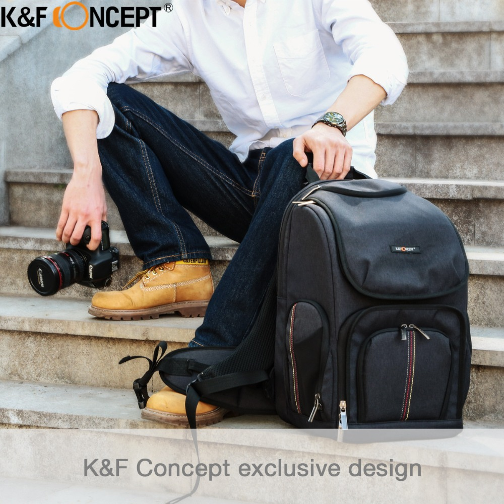 K&F CONCEPT High-quality Waterproof Camera Backpack with Free Raincover Hold 1 Camera+Lenses+Ipad+Items for Canon Sony Nikon