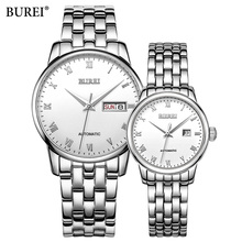 BUREI Famous Brand Watches Stainless Steel Lover's Watches Couple Watches For Girl Friend Pair Automatic mechanical Watch