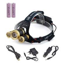 Alta Qualidade 10000 Lumen 3XT6 LED Farol 4 Modos Light Head Lamp LED Farol + 2X18650 Baterias de Carro UE/EUA/AU/UK Carregador + 1 XUSB