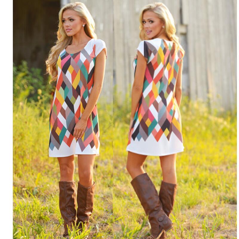 27d8a82470 ... Summer Print Boho Dress Women Casual Retro Loose Beach Dress Plus Size  Short Sleeve bohemian Rainbow Tunic Vestidos 2018. Sale! 🔍. Uncategorized  ...
