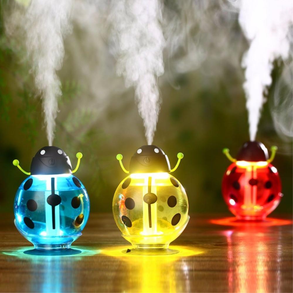 цена на Night Light Cartoon Ladybug USB Mini Humidifier Aroma Air Essential Oil Diffuser Ultrasonic Atomizer Creative Car Air Purifier